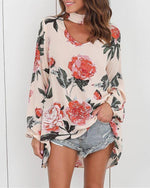 Women Sexy V-Neck Flower Printed Hanging Neck Plus Size Blouses Tops