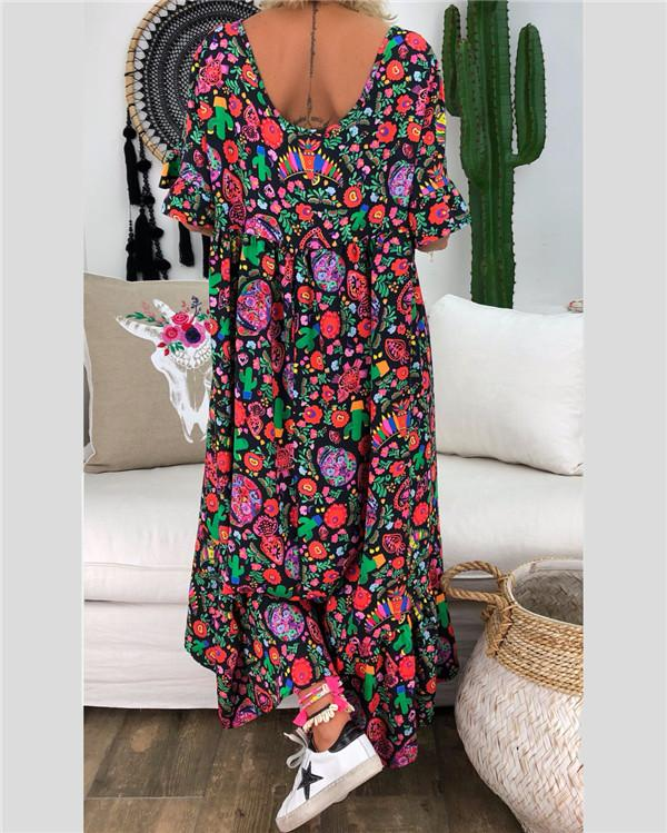 Floral Printed V Neck Summer Printed Holiday Chic Mini Dresses