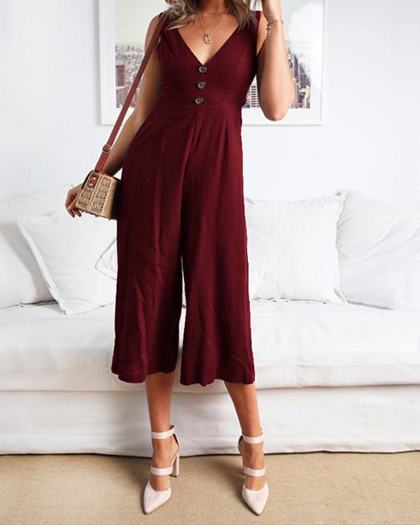 Casual V Neck Solid Color Jumpsuits With Open Back