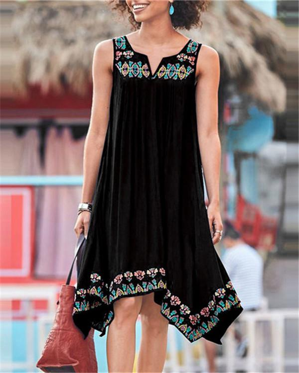 Bohemian Sleeveless V Neck Mini Dress