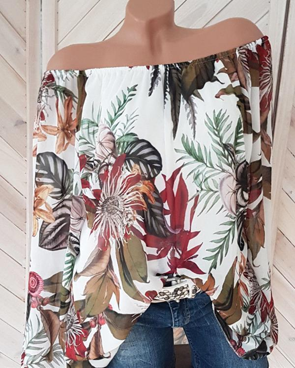 Women Casual Off Shoulder Printed Lantern Sleeve Plus Size Blouses Tops
