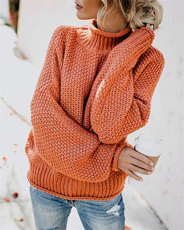 MultiColor Lastest Casual Fall High Neck Loose  Daily Pullover Sweater