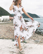V Neck Summer Printed  Midi Dresses