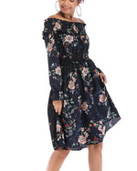Sexy Floral Print Off The Shoulder Dresses