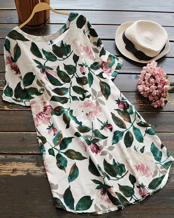 Floral Printed Vintage Crew Neck Short Sleeves Dresses