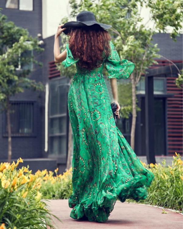 Green Deep V-Neck Printed Bohemian Maxi Dress