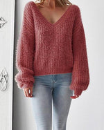 Sexy V Neck Backless Loose Sweater For Autumn Winter