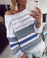 Fall Hollow Out Women Sweater Casual Printed Shirt &Tops