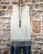 Sexy Solid Stitching Tassel Plus Size Vests Tops