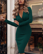 Women Sexy Deep V  Midi Dress
