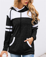 Women Striped Hooded Loose Outwear Coat With Pocket