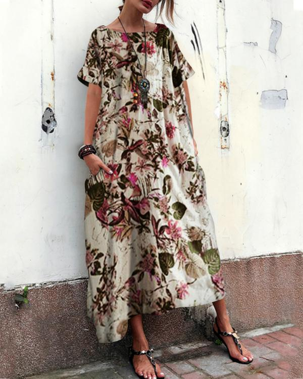 Women Casual Short Sleeve Floral Printed Loose Dress