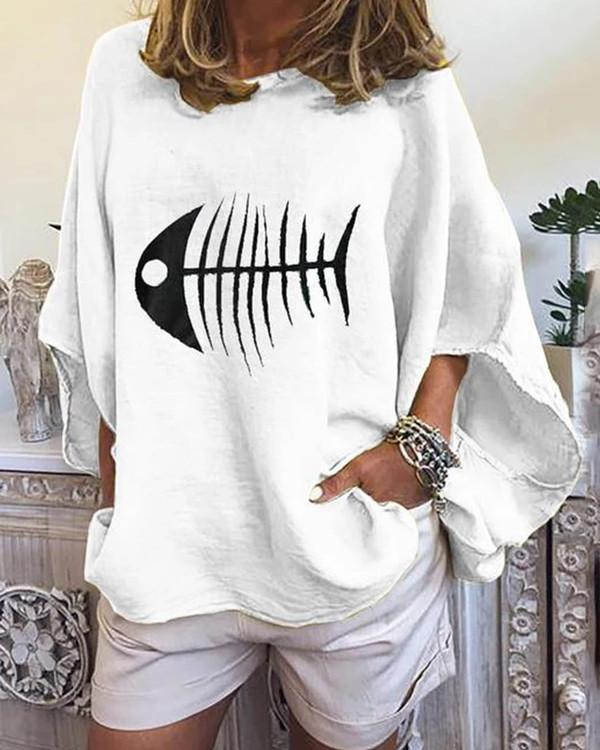 Fish Bone Loose Sleeve Casual Lady Women Daily Shift Tops