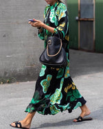 Stylish Green Floral Printed Long Sleeve Maxi Dress
