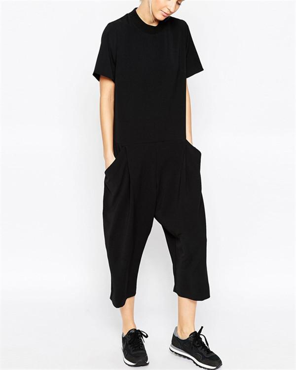 Solid Short Sleeve Cropped Trousers Jumpsuits Women Pants
