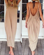 Casual Solid Color Open Back Maxi Dress