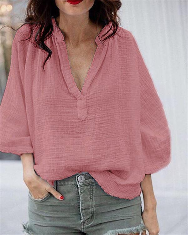 Plus Size Women Solid V Neck Loose Tops