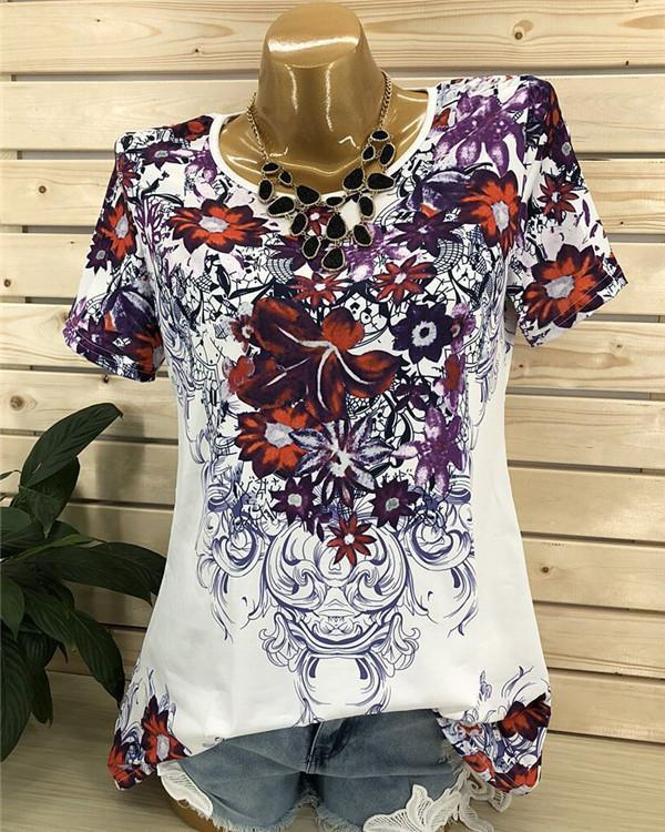 Crew Neck Floral Printed Short Sleeve Blouse