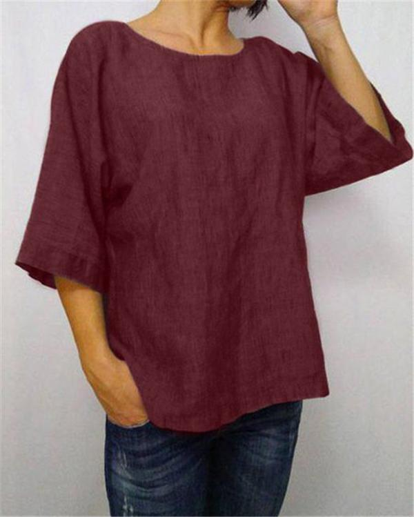 Asymmetric Linen Blouse Multi-Color  Vintage Linen Tops