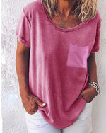 Casual Plus Size Solid Short Sleeve T-Shirts