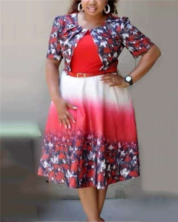 Africa Women Mesh Pearl Plus Size Floral Print Dress With Belt