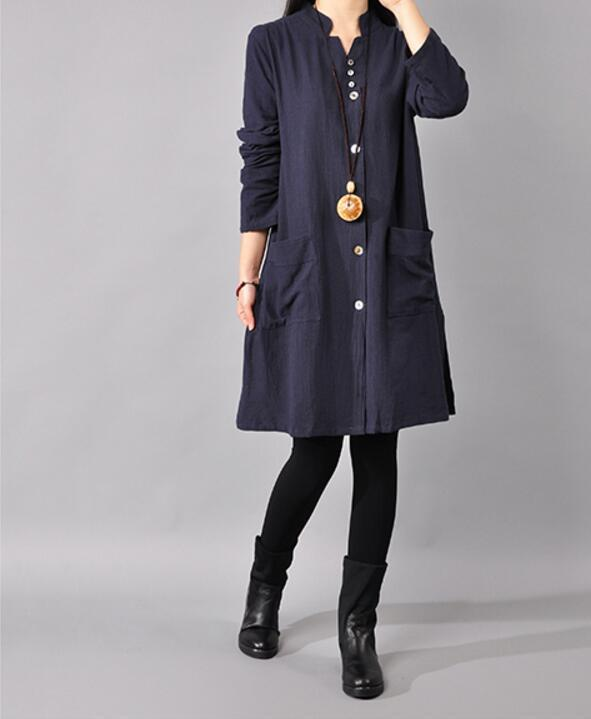 Vintage Loose Split Solid Long Sleeve Stand Collar Puls Size Shirt Dresses