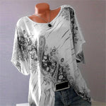 Plus Size Women Fashion Blouse Casual Loose Floral Printed Tops