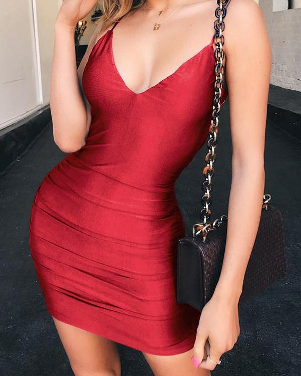 Sleeveless Deep V Reveal Back Sexy Nightclub Dress
