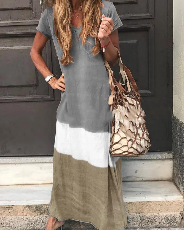 Casual  V Neck  Short Sleeve Maxi Dresses