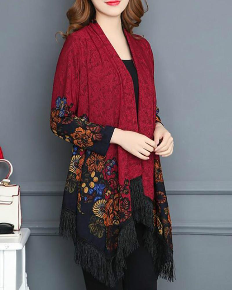 Shawl Collar Long Sleeve Vintage Floral Asymmetrical Coat