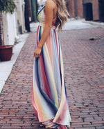 Women Casual Sleeveless Cross Strap Sling Bohemian Printed Maxi Dress