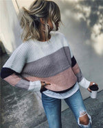 Women's Fall Newest  Loose Striped Daily Pullover Fleece Sweater