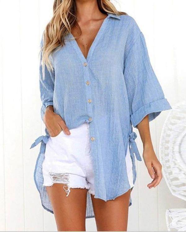 Solid Elegant Cotton Shirt Collar Chic Shirts Tops