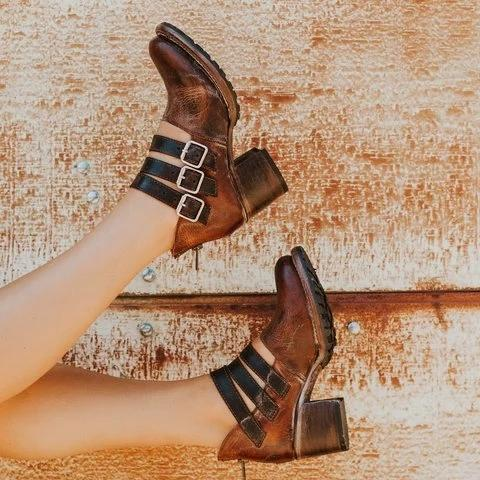 Vintage Mary-Jane Booties with Zipper Casual Adjustable Buckle Low Heel Boots