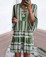Bohemian Printed V Neck 3/4 Sleeve Dresses