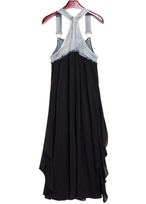 Women Fashion Plus Size Casual Black Asymmetrical Dress