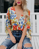Bohemian Printed Vacation Half Sleeve V Neck Blouse Tops