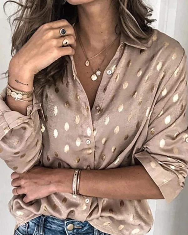 Long Sleeve V Neck Polka Dots Shirts