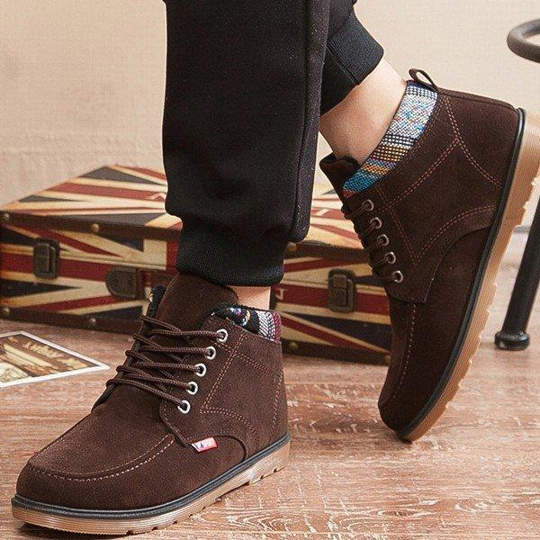 British Style Recreational Plush Lining Casual Lace Up Ankle Boots
