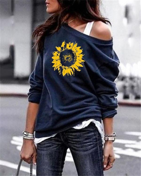 Sunflower One Shoulder Stylish Women Daily Fashion Fall Tops