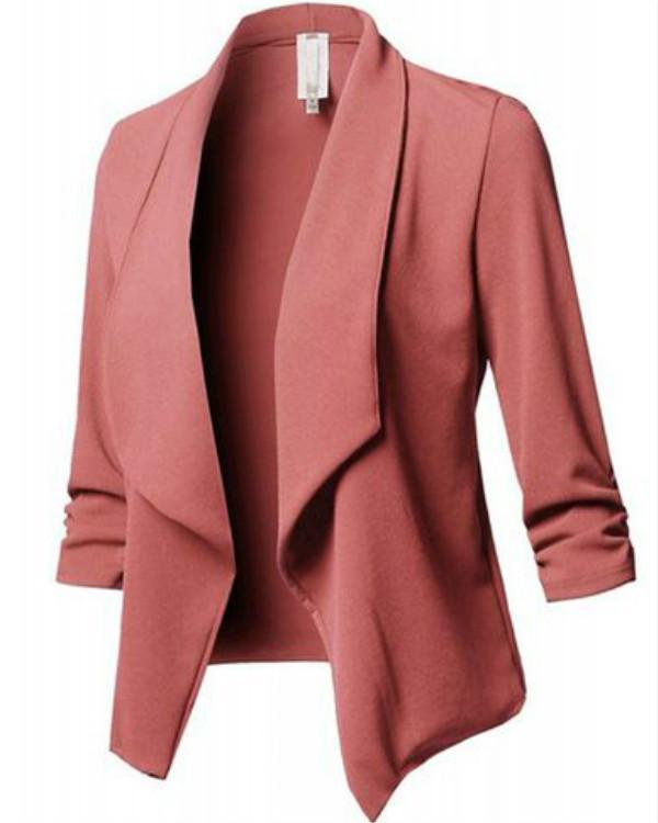 Women's Fahion Solid Color 3/4 Sleeve Open Blazer Jacket