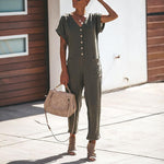 V Neck Plain Pocket Short Sleeve Fashion Jumpsuits