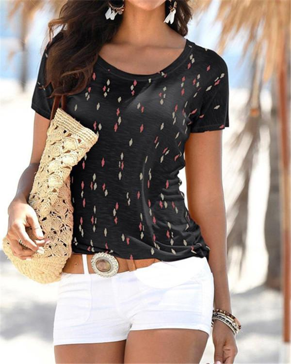 Summer Printed Women Casual Crew Neck Holiday Tops