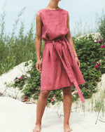 Casual Back V-neck Sleeveless linen Summer Dress