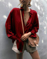 Spring Fashionable V-neck Long Sleeve Shirts Blouses
