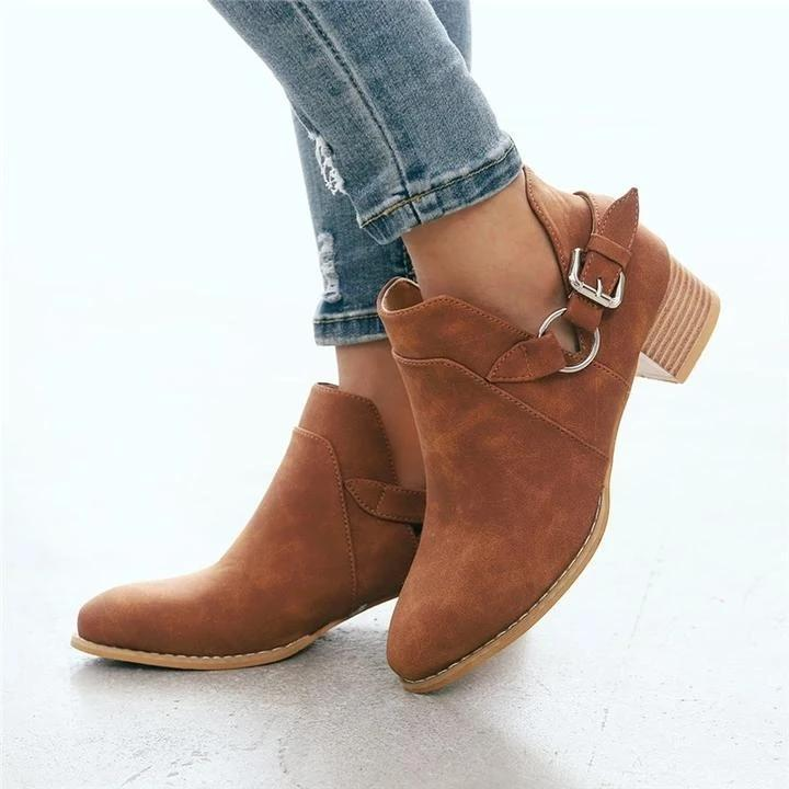 Buckle Belted Side Cut Booties Low Heel Simple Ankle Boots