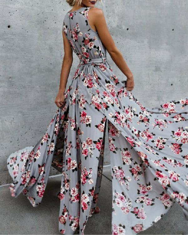 Bohemia Floral Sleeveless V Neck Split-side Maxi Dress