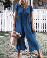 Solid Short Sleeve Jumpsuits