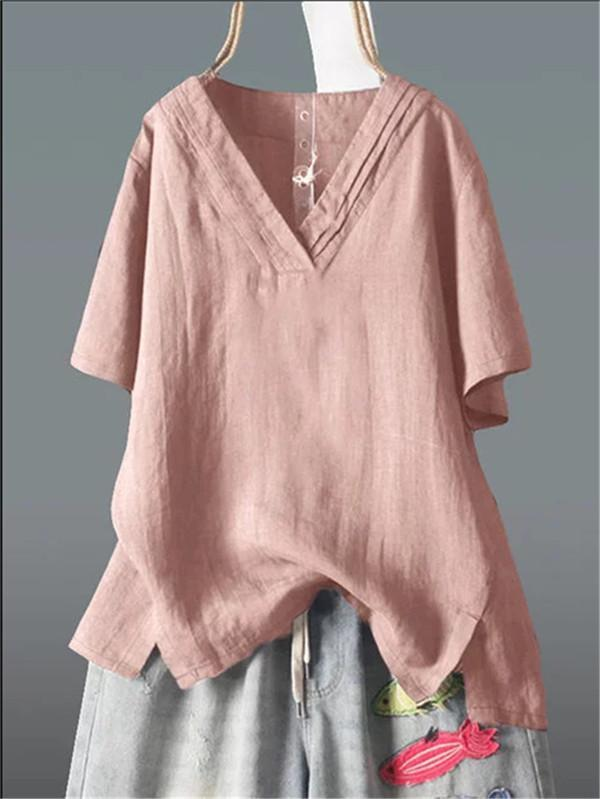 Casual V Neck Tops Solid Color Linen Plus Size  Blouse