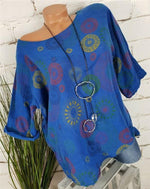 Women Totem Printed Tops Plus Size Crew Neck Blouse